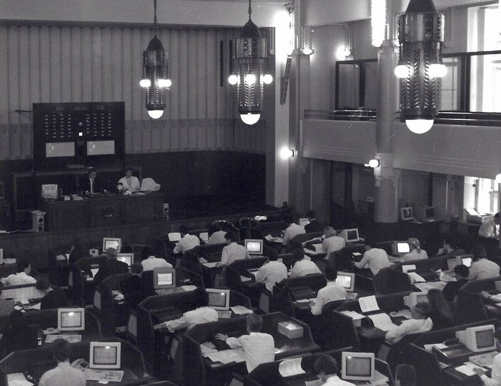 Pörssi-istunto 80-luvun lopussa.