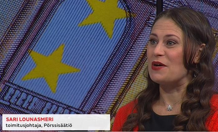 Pörssisäätiön toimitusjohtaja Sari Lounasmeri MTV:n Uutisaamussa 22.9.2021. Kuvakaappaus MTV:n lähetyksestä.